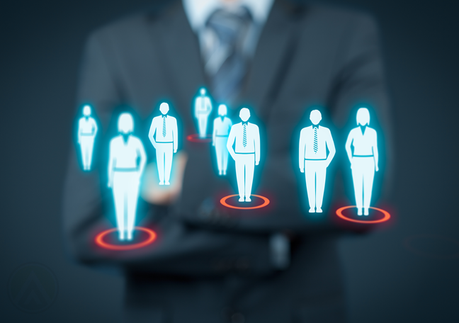business executive standing with virtual interace crm human figures