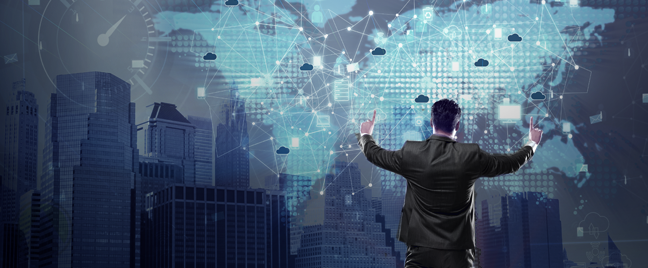 businessman looking at business prospects on virtual map in cityscape backdrop
