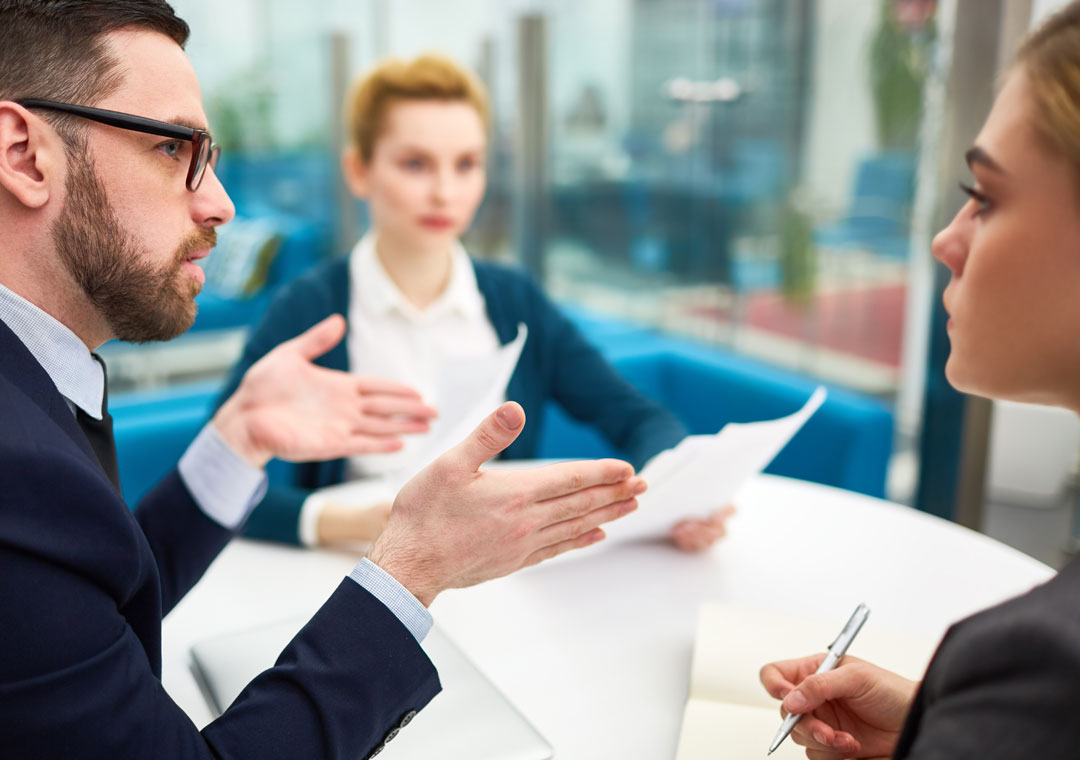 customer service employees team leader discussing with human resources hr