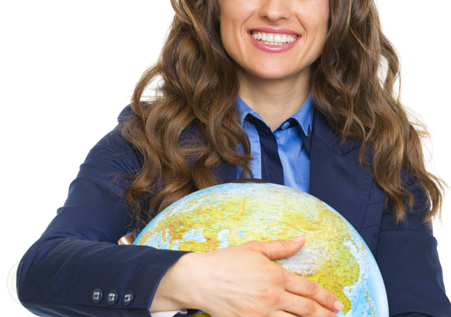 smiling office worker hugging globe