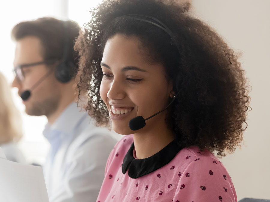 call center agent busy with customer support call