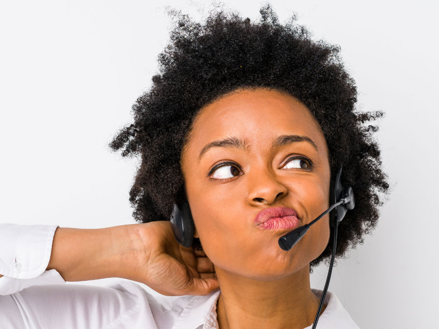 call center agent thinking deeply