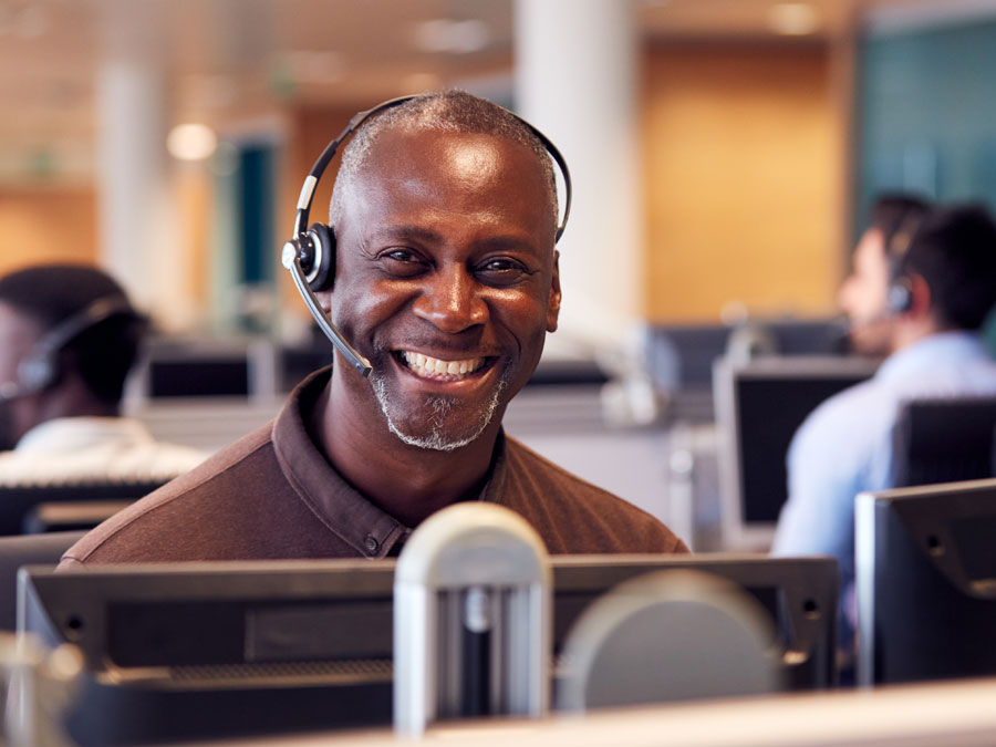 customer experience smiling brightly