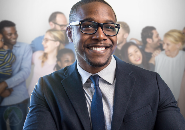 businessman smiling brightly with group people in back