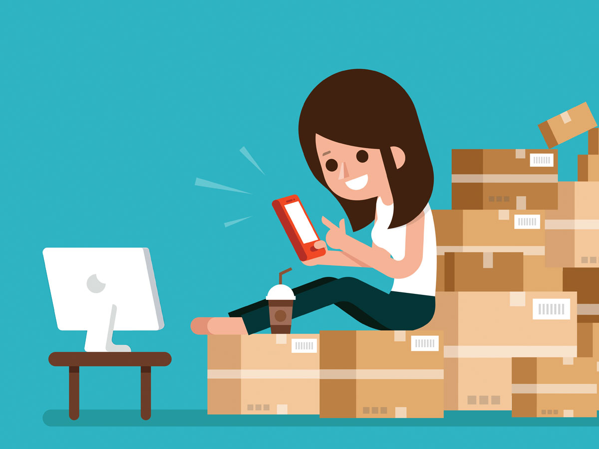 cartoon woman doing online shopping on smartphone ecommerce site on computer on boxes