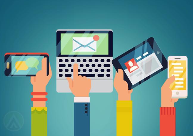 consumer hands holding laptop smartphones tablet