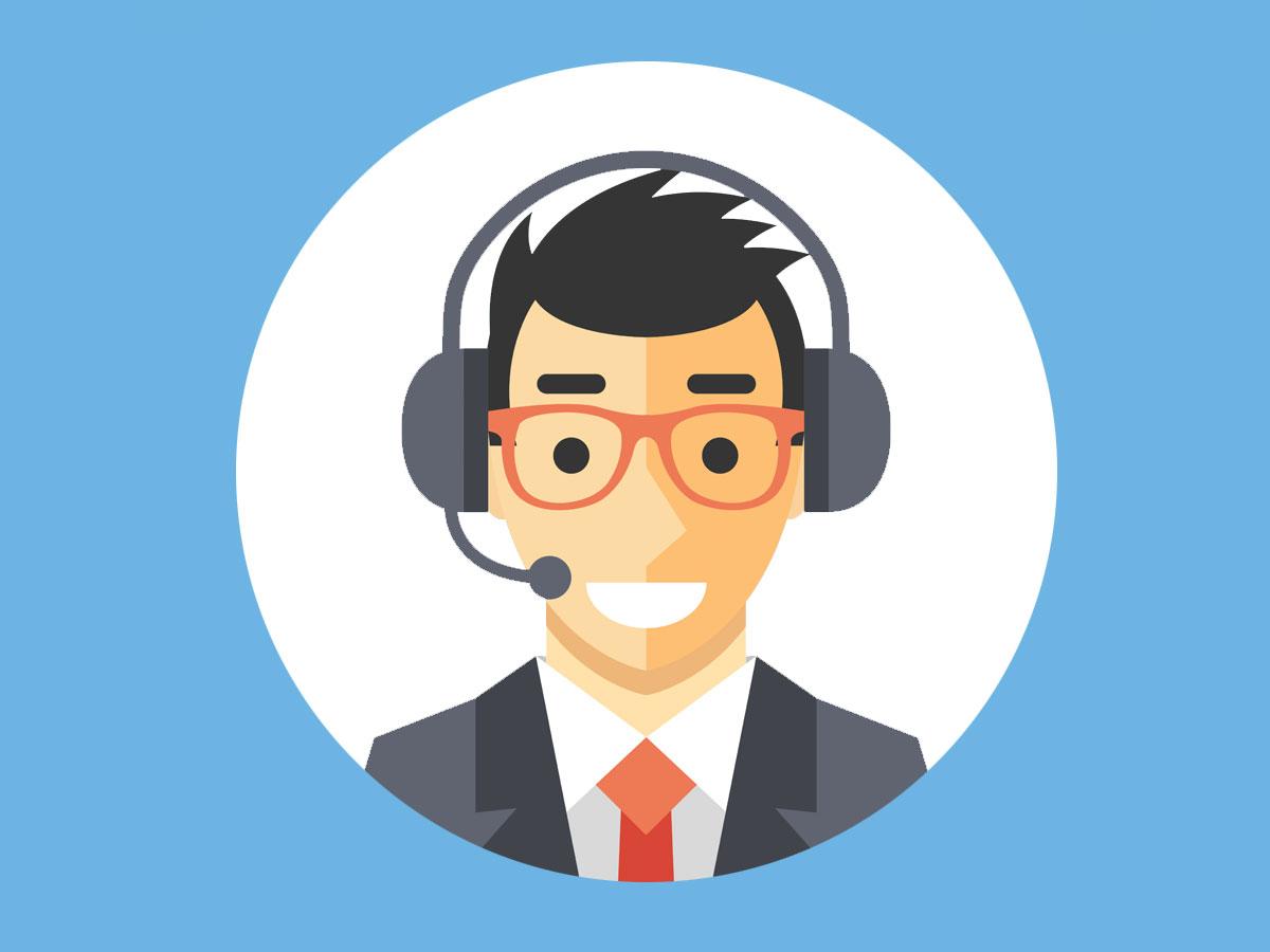 flat design cartoon smiling call center agent in glasses