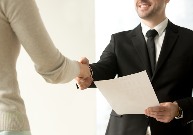 HR manager shaking hands new hired omnichannel customer support agent