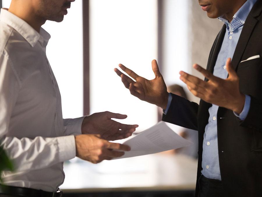 call center executives in a debate argument