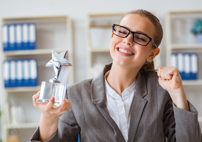 happy customer support call center agent holding star trophy award