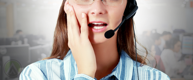 worried call center agent