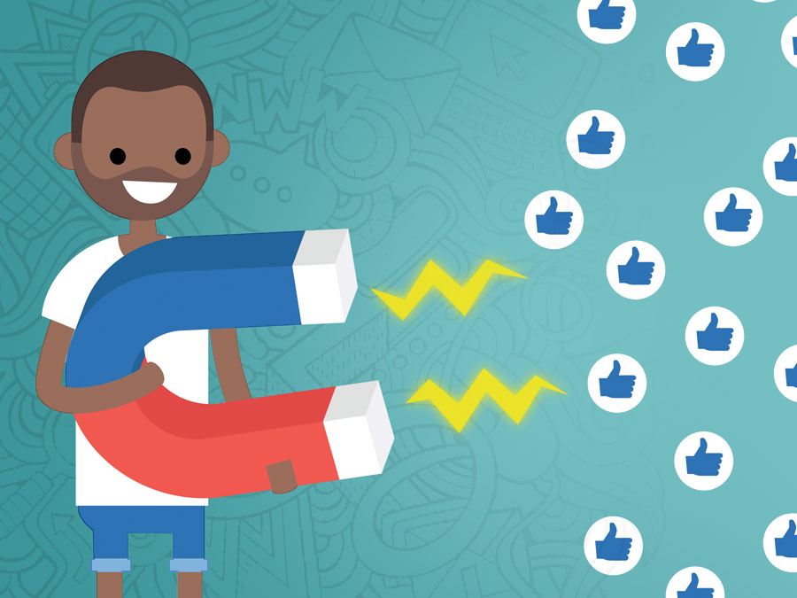 man with giant magnet pulling in social media Facebook Likes