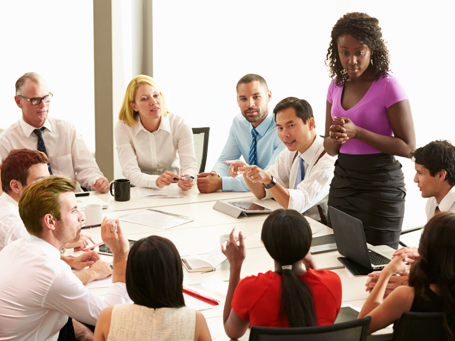 business team in discussion in meeting room