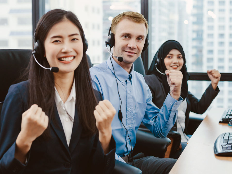 determined motivated diverse customer center team in call center