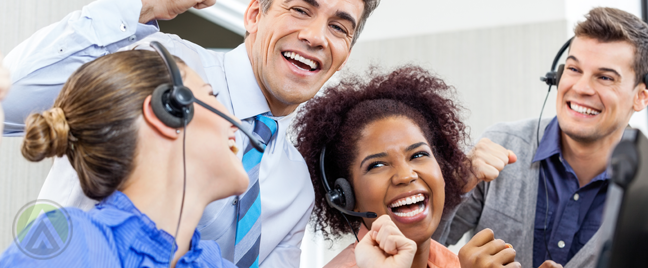 excited call center agents