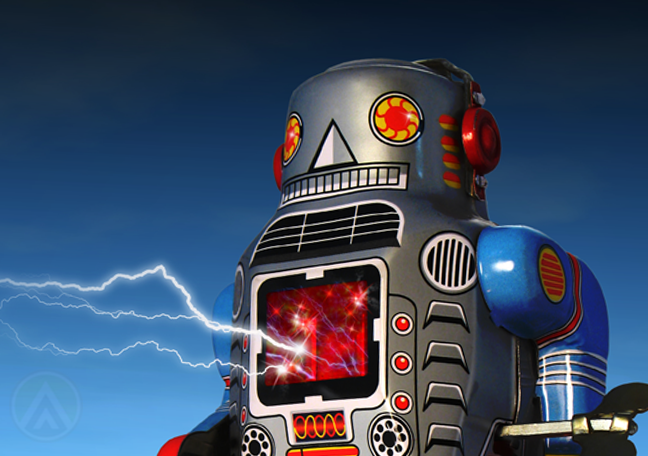 evil bad robot with lightning