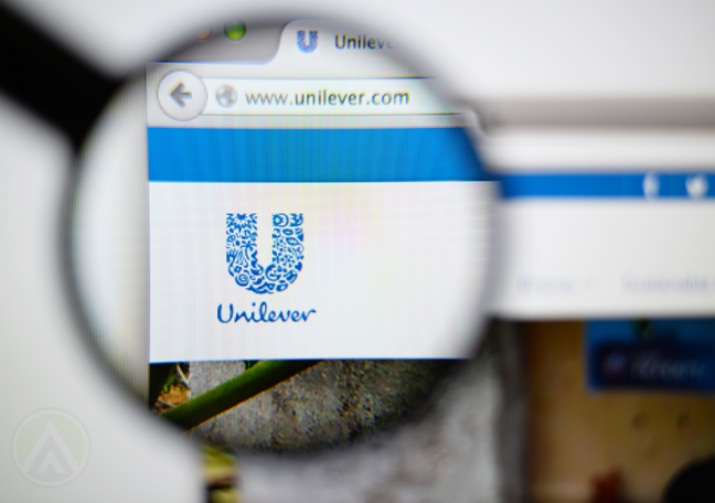 unilever website seen under magnifying lens
