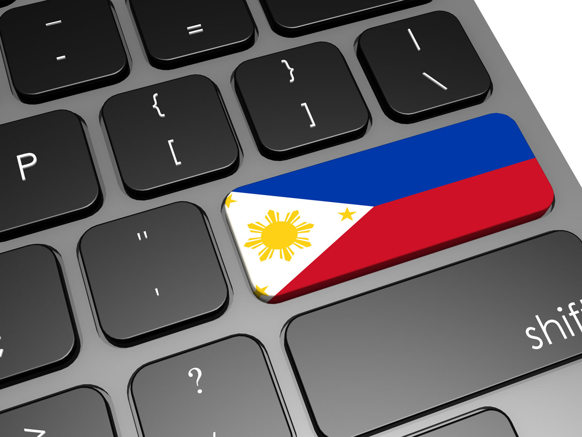 Philippine flag on computer keyboard banner