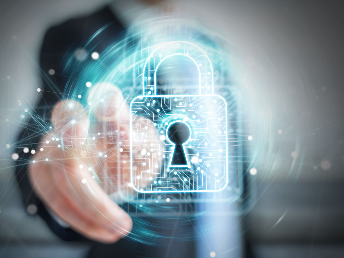 blurry call center fraud analyst reaching out to virtual padlock for data security