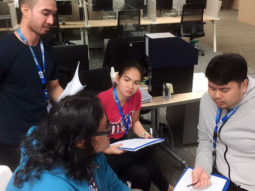 Group discussion during Open Access BPO LEAD training