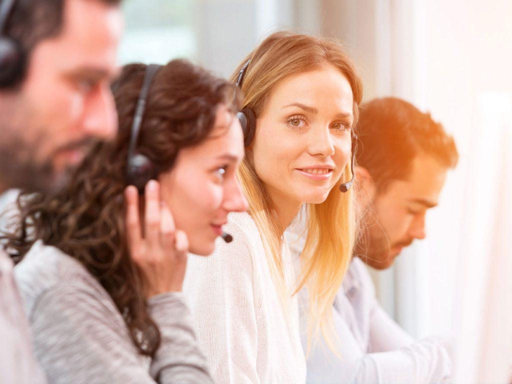 call center team providing customer support for an e-commerce business